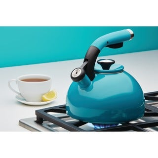 Circulon 'Morning Bird' Capri Turquoise Enameled Stainless Steel 2-quart Tea Kettle