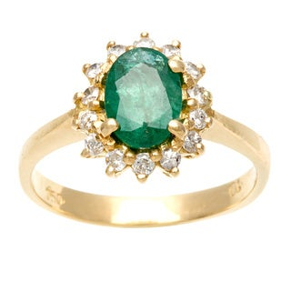 18k Yellow Gold Emerald and 1/6ct TDW Diamond Estate Ring (G-H, SI1-SI2)