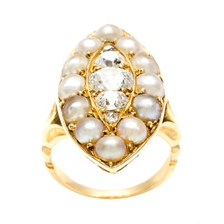 18k Yellow Gold 1ct TDW Diamond and Pearl Estate Ring (F-G, VS1-VS2)
