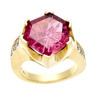 18k Gold Pink Tourmaline and 4/5ct TDW Diamond Estate Ring (E-F, VS1-VS2)