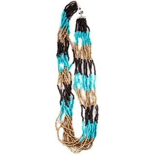 Turquoise, Gold and Brown Beaded 10-strand Necklace (China)