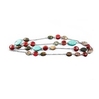 Turquoise and Scarlet Ceramic Bead and Jasper Stone Silver Necklace (China)