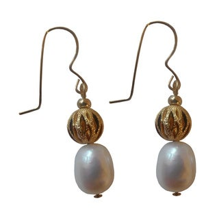 14k Gold-filled White Freshwater Pearl and Gold Ball Dangle Earrings