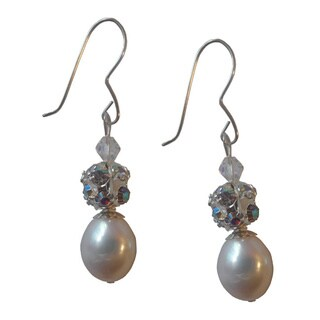 Sterling Silver White Freshwater Pearl and Crystal Dangle Earrings