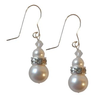 Sterling Silver Faux Pearls and Crystal Bridal Earrings