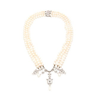 14k Gold FW Pearl and 2ct TDW Diamond Estate Necklace (J-K, I1-I2)