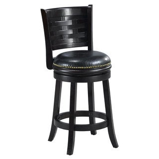'Brooklyn' Black Bi-cast Leather Woven Back Swivel Counter Stool
