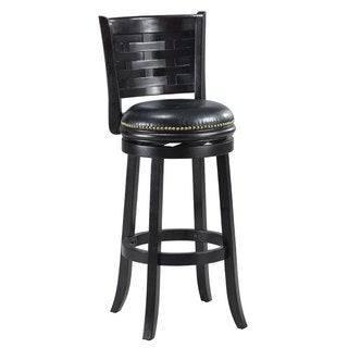 'Brooklyn' Black Bi-cast Leather Woven Back Swivel Bar Stool
