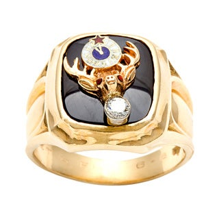 Pre-owned 14k Gold Onyx and 1/10ct TDW Diamond BPO Elks Estate Ring (H-I, SI1-SI2)