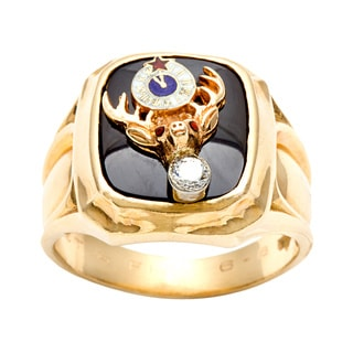 14k Gold Onyx and 1/10ct TDW Diamond Masonic Estate Ring (H-I, SI1-SI2)