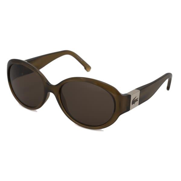 Lacoste Women's L509S Oval Dark Orange-and-Brown Sunglasses