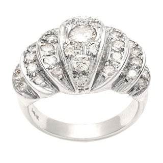 14k White Gold 1 1/5ct TDW Diamond Estate Cocktail Ring (H-I, SI1-SI2)