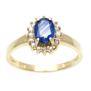 14k Gold Sapphire and 1/10ct TDW Diamond Estate Ring (I-J, I1-I2)
