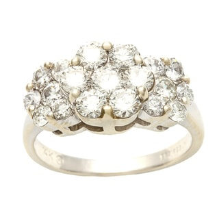 14k White Gold 2 1/3ct TDW Diamond Flower Estate Ring (I-J, SI1-SI2)