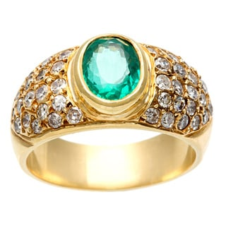 18k Gold Emerald and 3/4ct TDW Diamond 1960's Estate Ring (J-K, SI1-SI2)