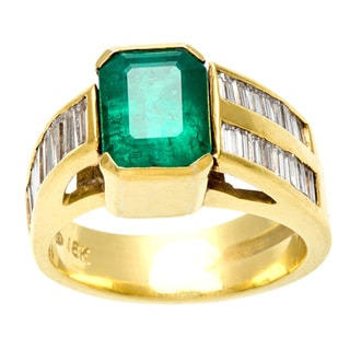 18k Gold Emerald and 1ct TDW Diamond Estate Ring (I-J, VS1-VS2)