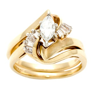 14k Yellow Gold 3/5ct TDW Diamond Estate Bridal Ring Set (H-I, VS1-VS2)