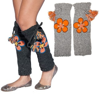 Hand-knit Floral Embroidery Woolen Legwarmer (Nepal)