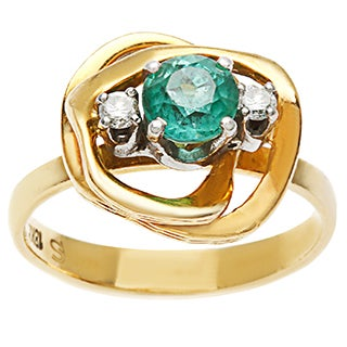 18K Yellow Gold Emerald and 1/10ct TDW Diamond Cocktail Ring (H-I, SI1-SI2)