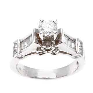 14k White Gold 1 1/10ct TDW Diamond Engagement Estate Ring (I-J, VS1-VS2)