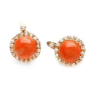 18k Gold Coral and 1 1/2ct TDW Diamond Estate Earrings (K-L, SI1-SI2)