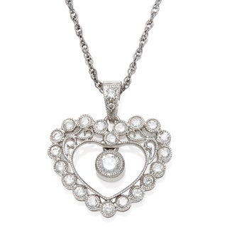 18k White Gold 1ct TDW Diamond Heart Estate Necklace (H-I, VS1-VS2)