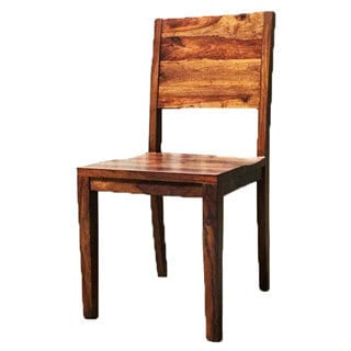 Set of 2 Simple Acacia Wood Chairs (India)