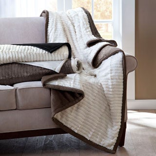 Madison Park Carmen Herringbone Long Fur Reverse to Mink Down Alternative Throw