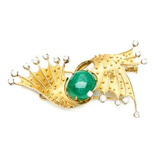 18k Gold Emerald and 1 1/3ct TDW Diamond Estate Brooch (E-F, SI1-SI2)