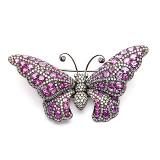 18k Gold Pink Sapphire and 8 1/3ct TDW Diamond Butterfly Pin (H-I, VS1-VS2)