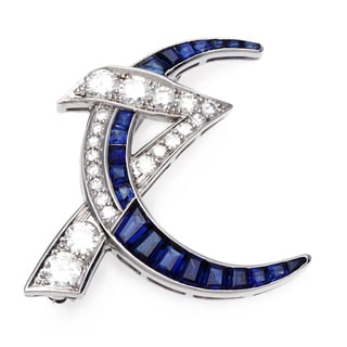 Platinum Sapphire and 2 1/2ct TDW Diamond Estate Brooch (F-G, VS1-VS2)
