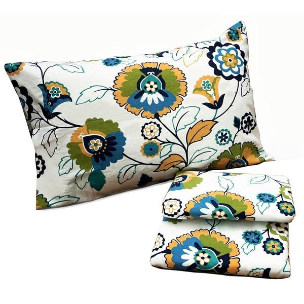 Tribeca Living Modern Floral Printed Extra Deep Pocket Flannel Sheet Set or Pillowcase Separates
