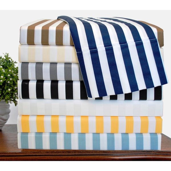 Luxor Treasures Cabana Striped 600 Thread Count Cotton Blend Deep Pocket Sheet Set