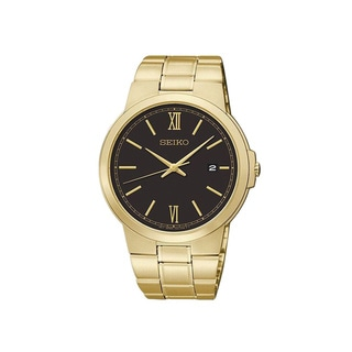 Seiko Men's Black Dial Goldtone Stainless Steel Watch