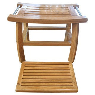 Teak Shower Bench with Removable Spa Bath Mat