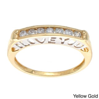 10k White or Yellow Gold 1/4ct TDW Diamond 'I LOVE YOU' Ring (H-I, I2)