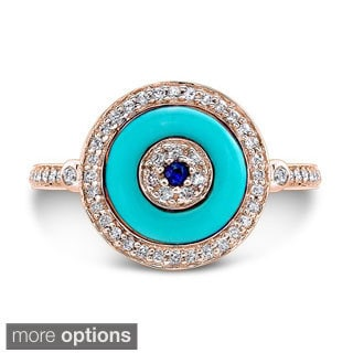 14k White Gold 1/4ct TDW Evil Eye Sapphire and Diamond Ring (I-J, I1-I2)