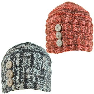 Hand-knit Women's Button-up Winter Beanie (Nepal)
