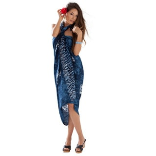 Navy Blue Hibiscus Flower Sarong (Indonesia)