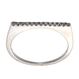 14k White Gold 1/10ct TDW Black Diamond Stackable Ring