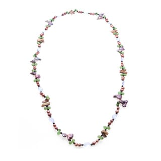Multi-colored FW Pearl, Crystal and Agate Necklace (6-7 mm)