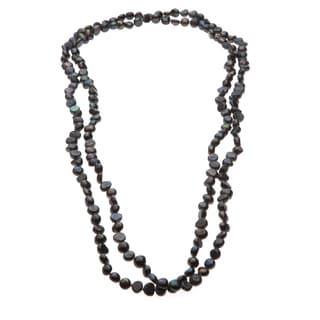 Black Freshwater Baroque Pearl Long Necklace (8-9 mm)