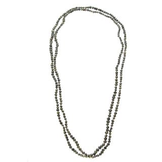 Long Freshwater Pearl Strand with Green Seed Pearls (5-6 mm)