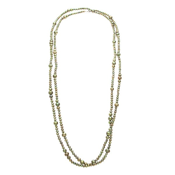 Long Strand Freshwater Pearl Necklace with Green Rice Pearls and Lobster Clasp (4-8 mm)