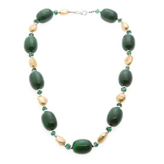 Jade, Crystal and Golden FW Pearl Necklace (9-10 mm)