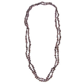 Long Strand Freshwater Pearl Necklace with Purple Baroque Pearls (5-6 mm)