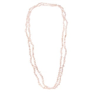Long Strand Freshwater Pearl Necklace with Peach Baroque Pearls (5-6 mm)