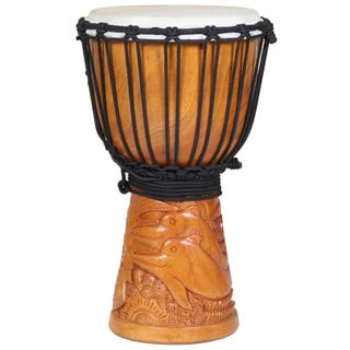 Hand-carved Dolphin Ocean Scenes Djembe Drum (Indonesia)
