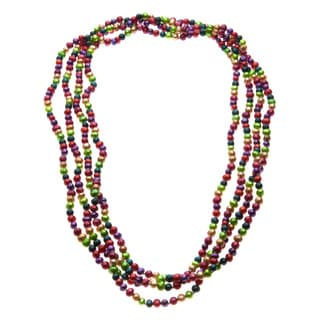 Multi-colored Freshwater Pearl Long 82-inch Necklace (4-5 mm)