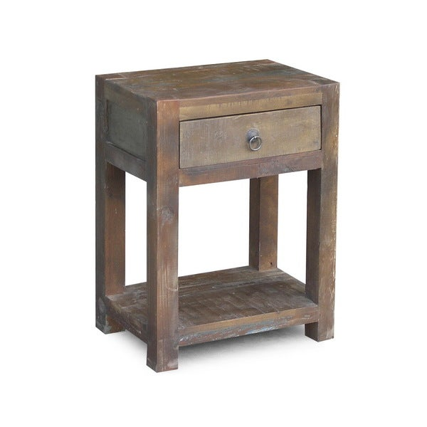 Timbergirl Reclaimed Wood Side-table and Drawer (India) - Overstock ...